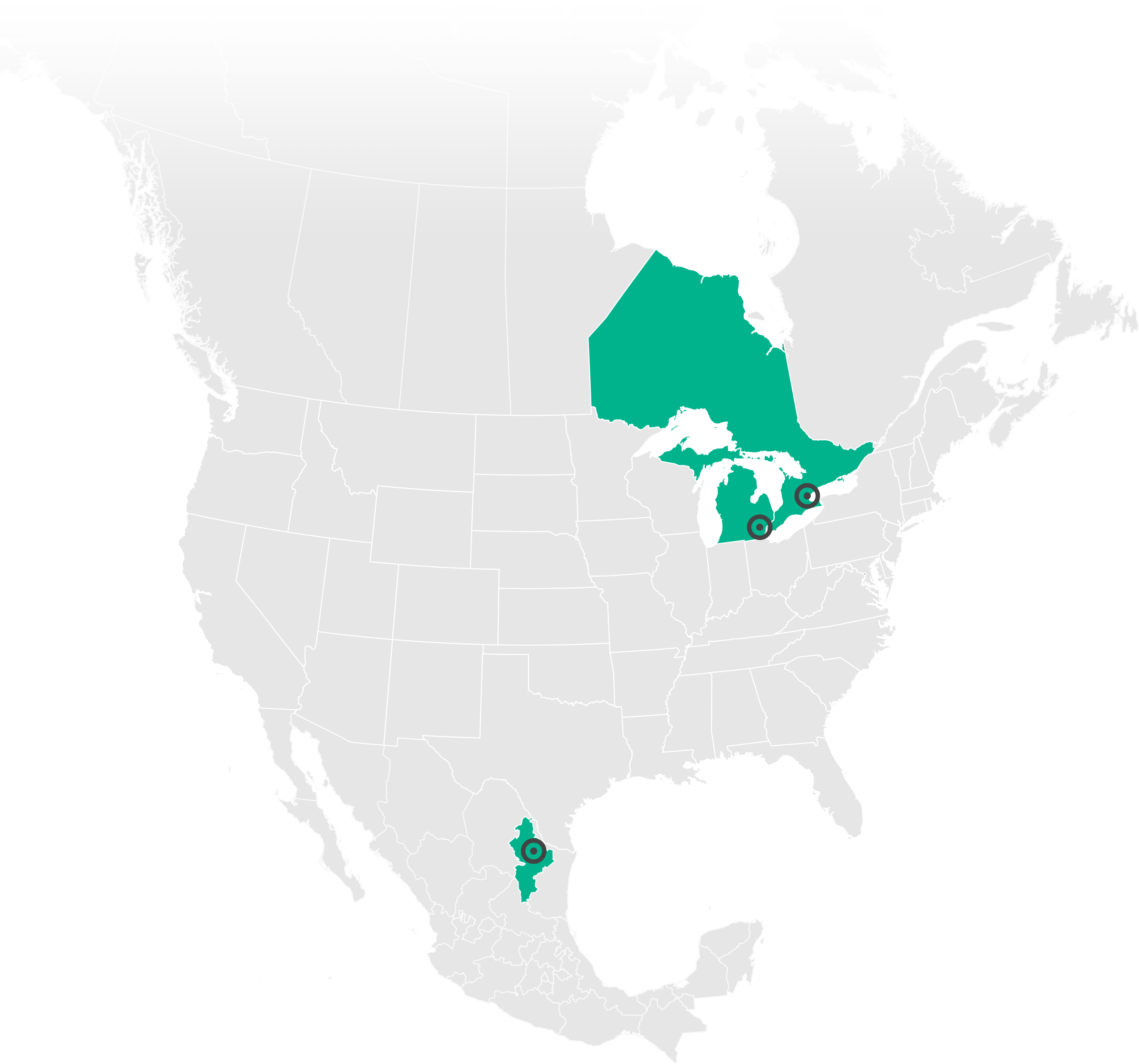 map of north america with locations indicated